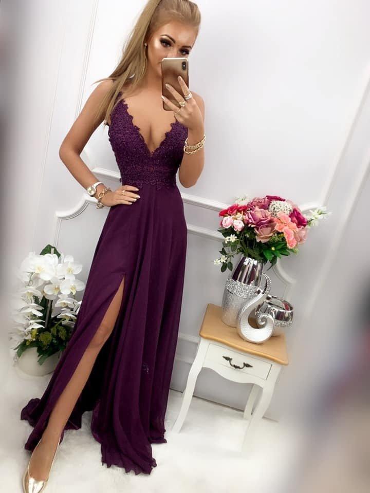 Długa Sukienka TESLA fioletowy